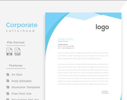 Cyan Color Clean Letterhead Corporate Identity
