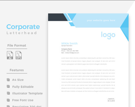 Cyan & Black Letterhead Corporate Identity