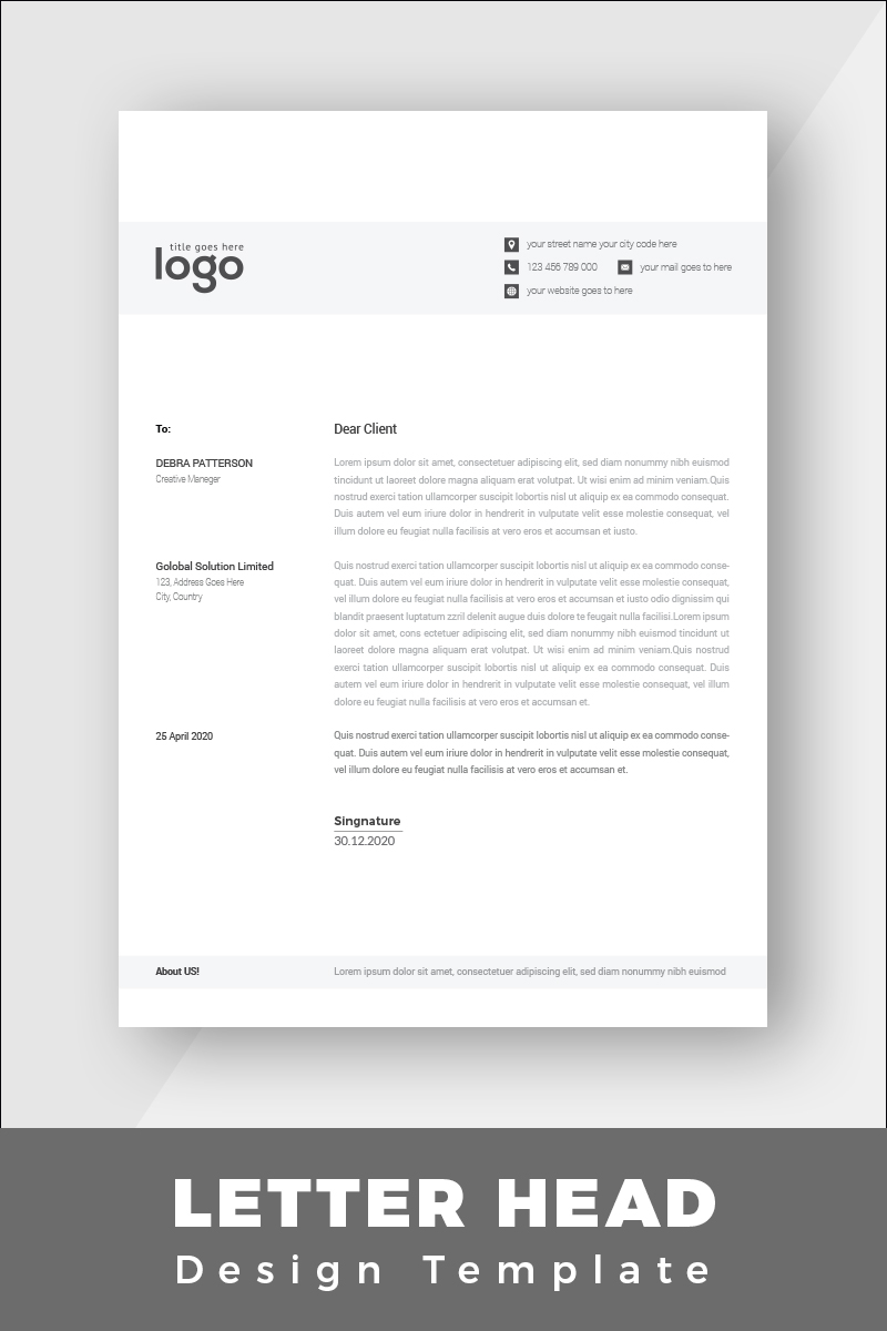 Black & White Minimal Letterhead Corporate identity-mall #86258 - skärmbild
