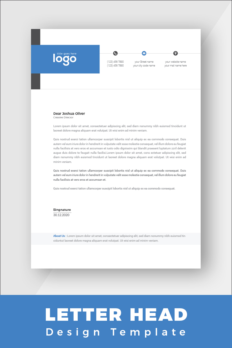 """Blue and Black Minimal Letterhead"" design d'Entreprise  #86259 - screenshot"
