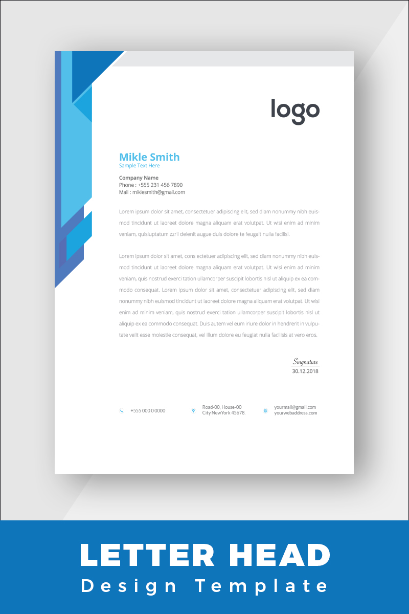 Blue Colour Corporate Letterhead Corporate identity-mall #86264 - skärmbild