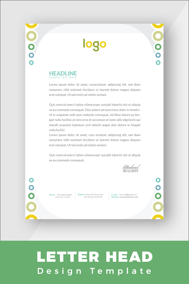 Colorful Letterhead Corporate Identity Template - screenshot