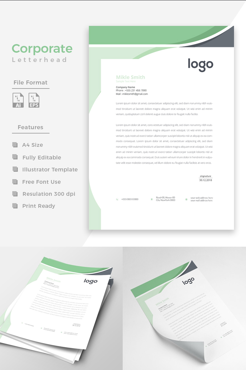 Creative Green and Black Corporate Identity Template - screenshot
