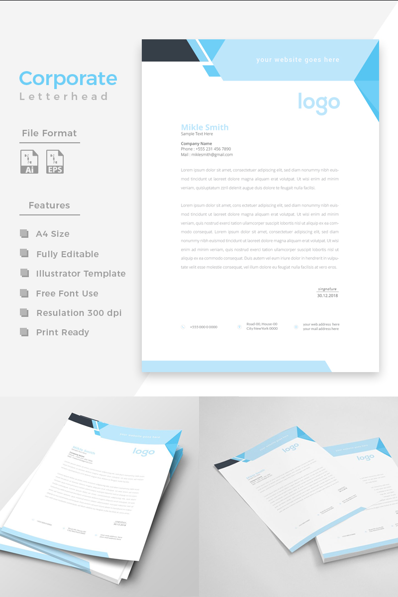 """Cyan & Black Letterhead"" Bedrijfsidentiteit template №86272 - screenshot"