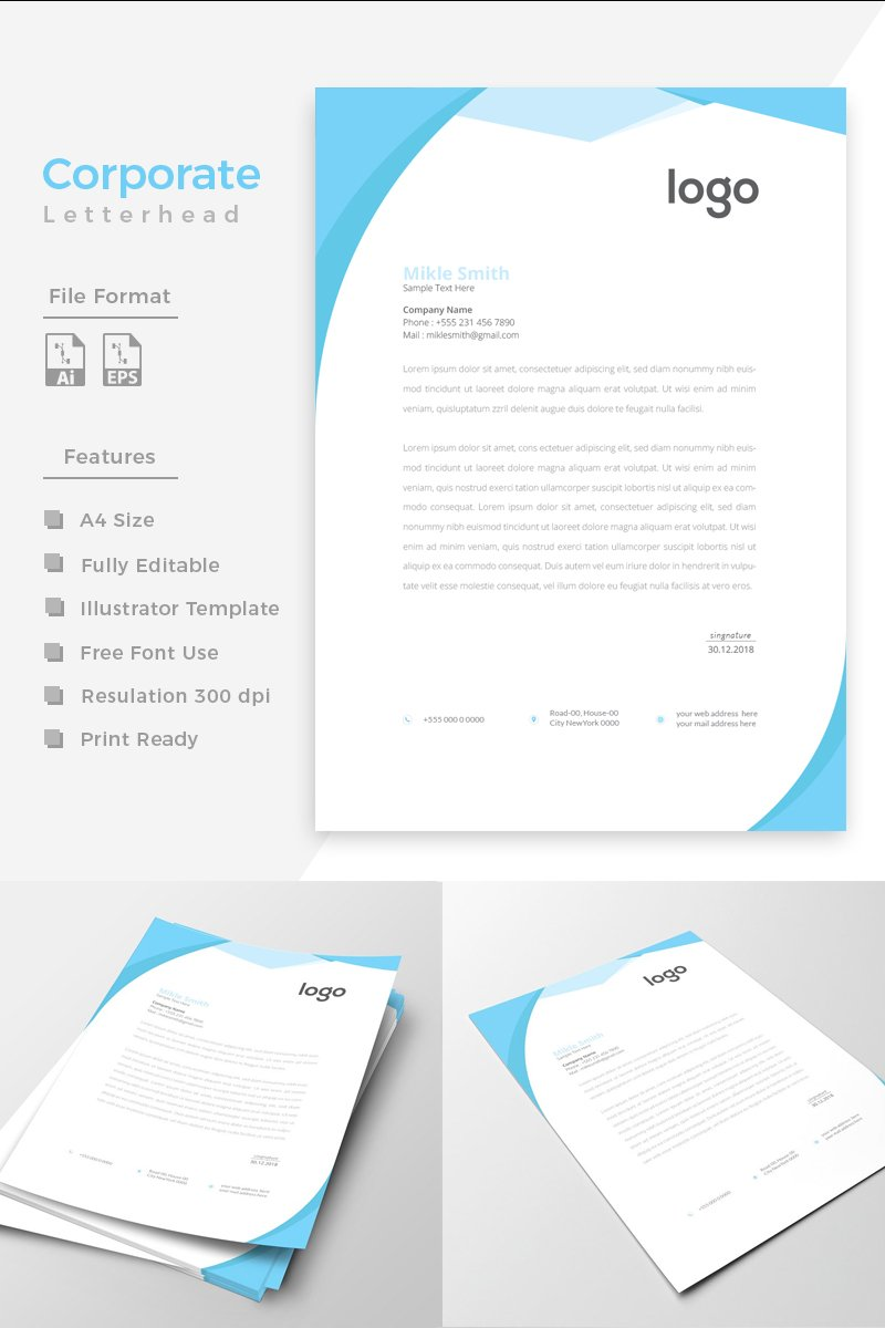 Cyan Color Clean Letterhead Corporate Identity Template - screenshot