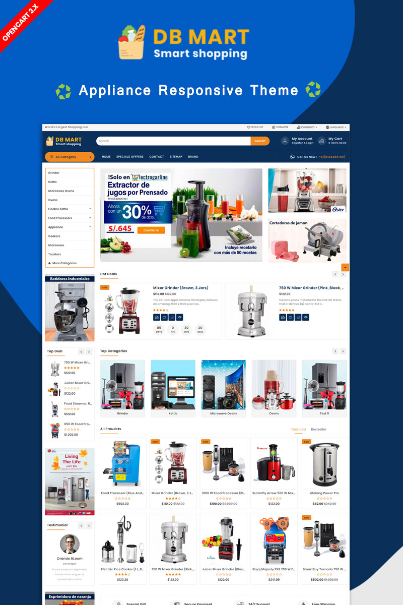 """DB Mart Home Applience"" Responsive OpenCart Template №86235"