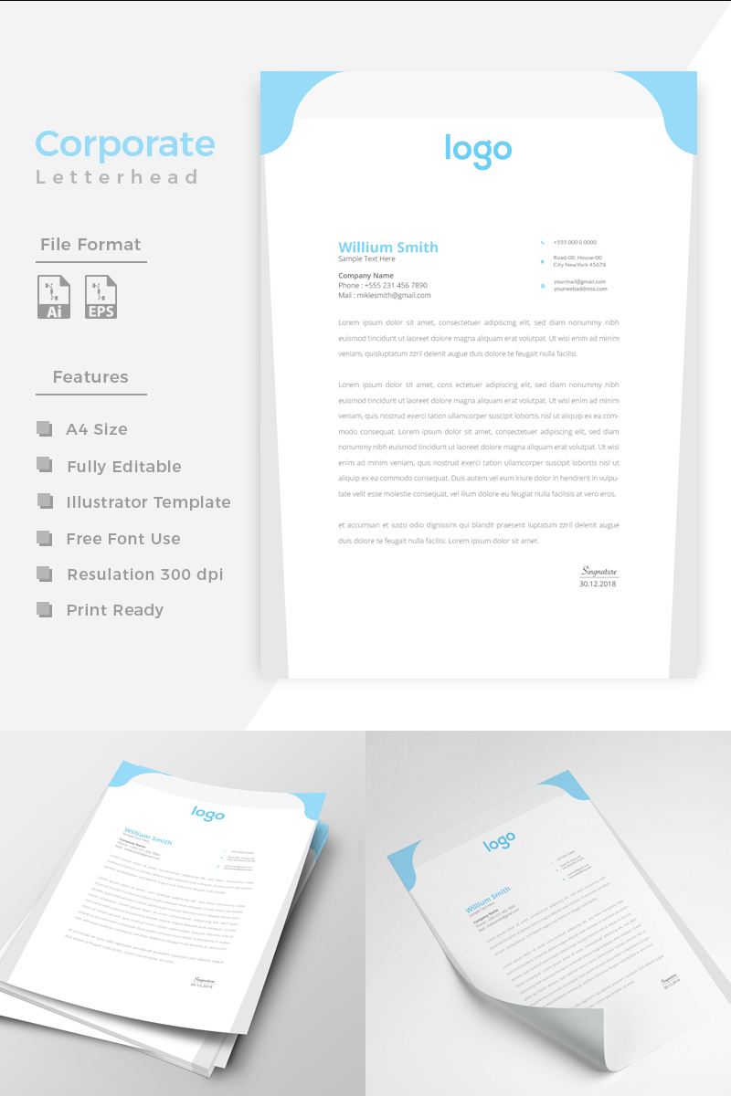 """Design Pro Creative Letterhead"" Bedrijfsidentiteit template №86201 - screenshot"
