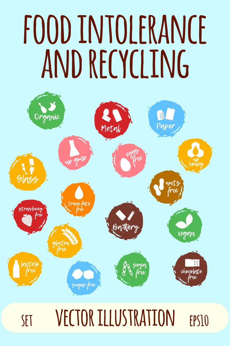 Food Intolerance and Recycling Labels Iconset #86283