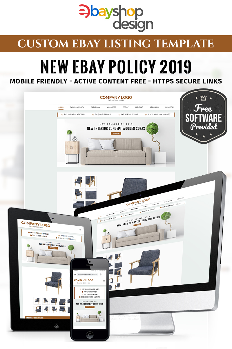 """Furniture Listing Design V1"" modèle eBay adaptatif #86291 - screenshot"