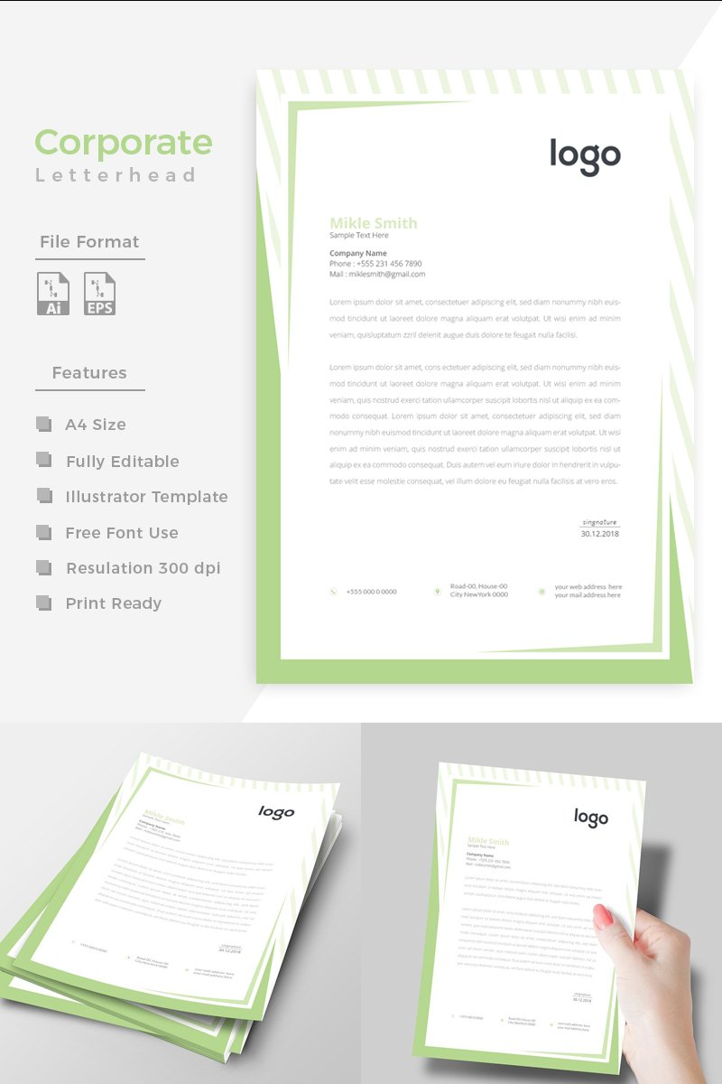 """Green Colour Creative Letterhead"" design d'Entreprise  #86270 - screenshot"