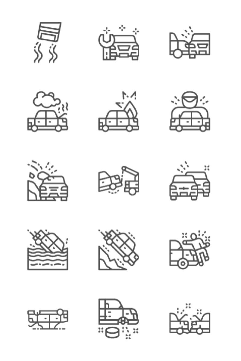 """Icon-Sammlungen Vorlage namens """"Set Of Car Accidents 64x64 Pixel Line Icons"""" #86282 - Screenshot"""