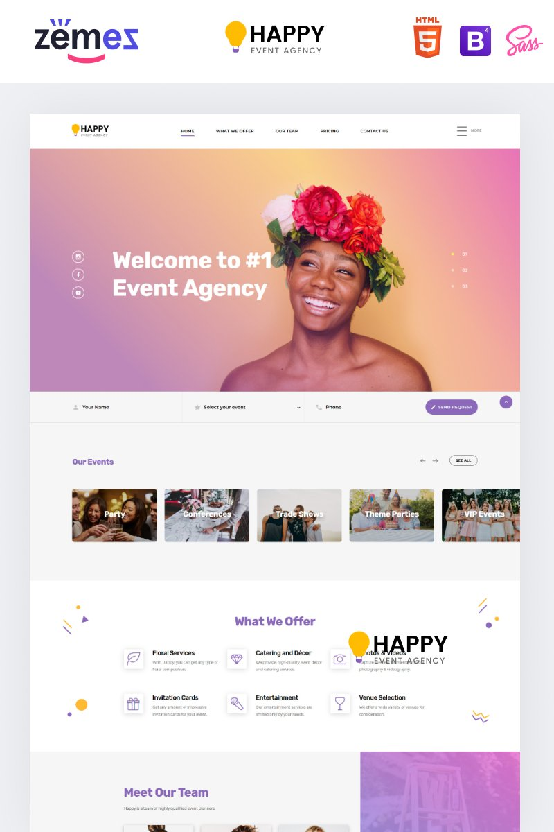 "Landing Page Template namens ""Happy - Event Agency HTML"" #86221 - Screenshot"