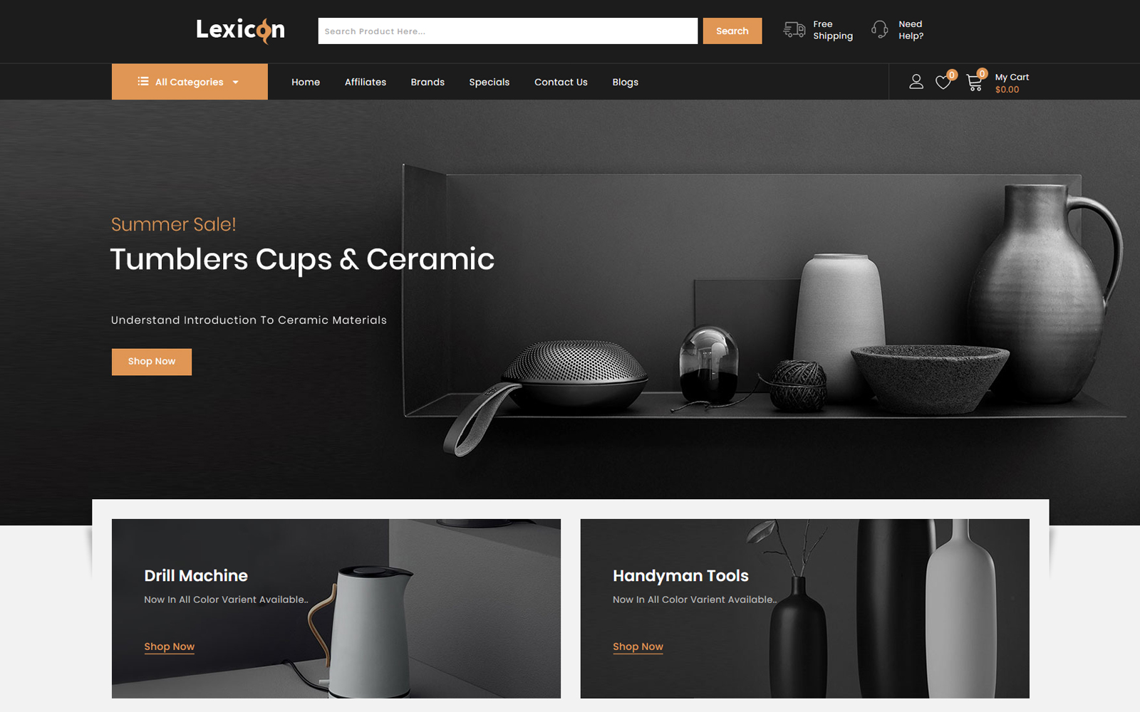 """Lexicon - kitchen Accessories Store"" - адаптивний OpenCart шаблон №86223"