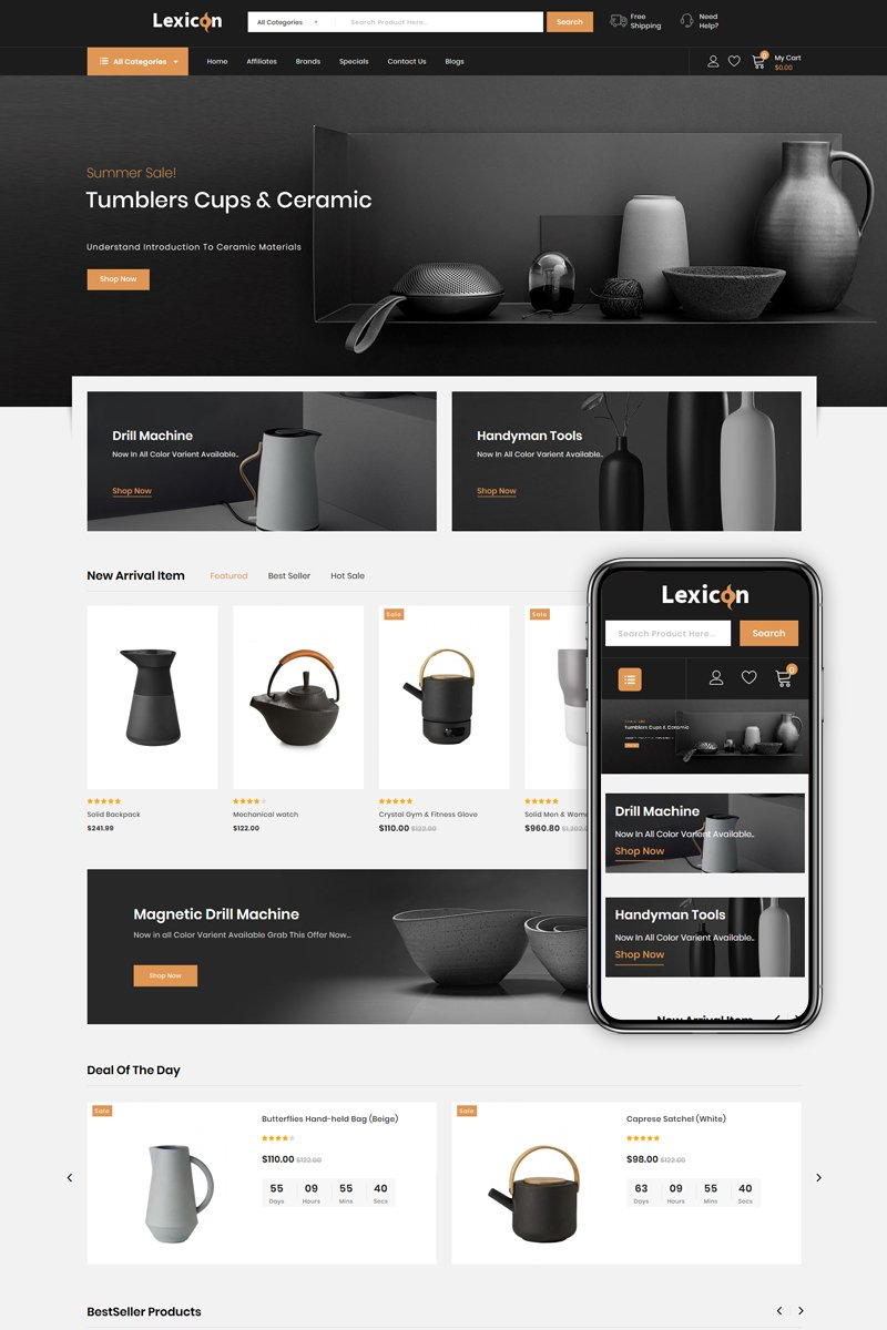 Lexicon - kitchen Accessories Store OpenCart Template
