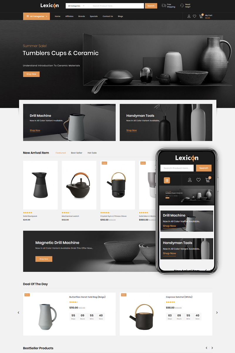 """Lexicon - kitchen Accessories Store"" Responsive OpenCart Template №86223 - screenshot"
