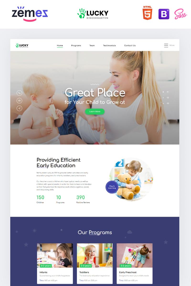 """Lucky - Kindergarten Clean HTML"" 响应式着陆页模板 #86257 - 截图"