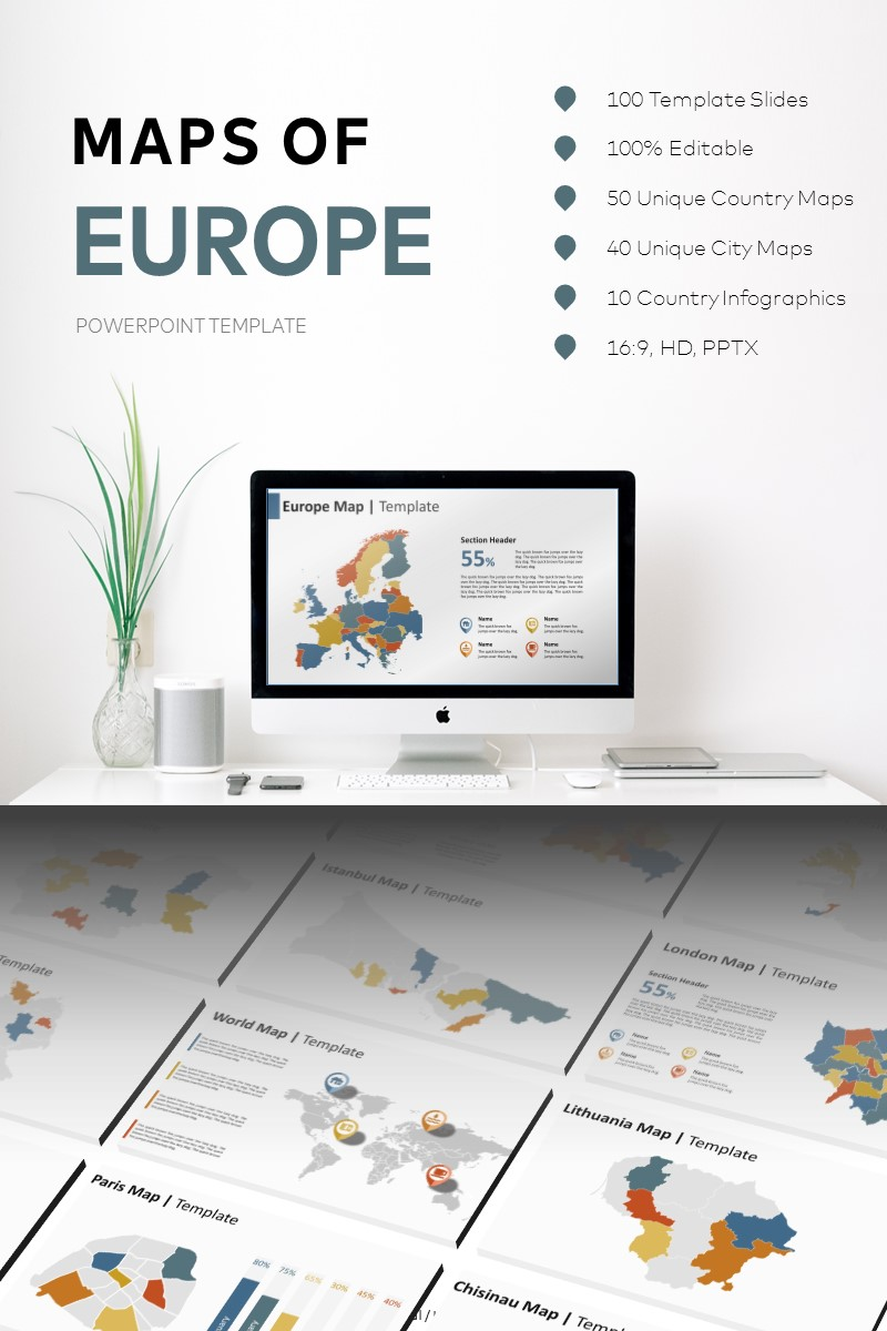 Maps of Europe PowerPoint Template - screenshot
