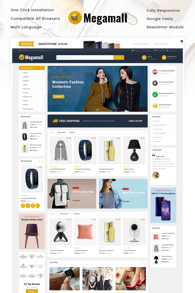 Megamall - Multipurpose Store Template OpenCart №86227
