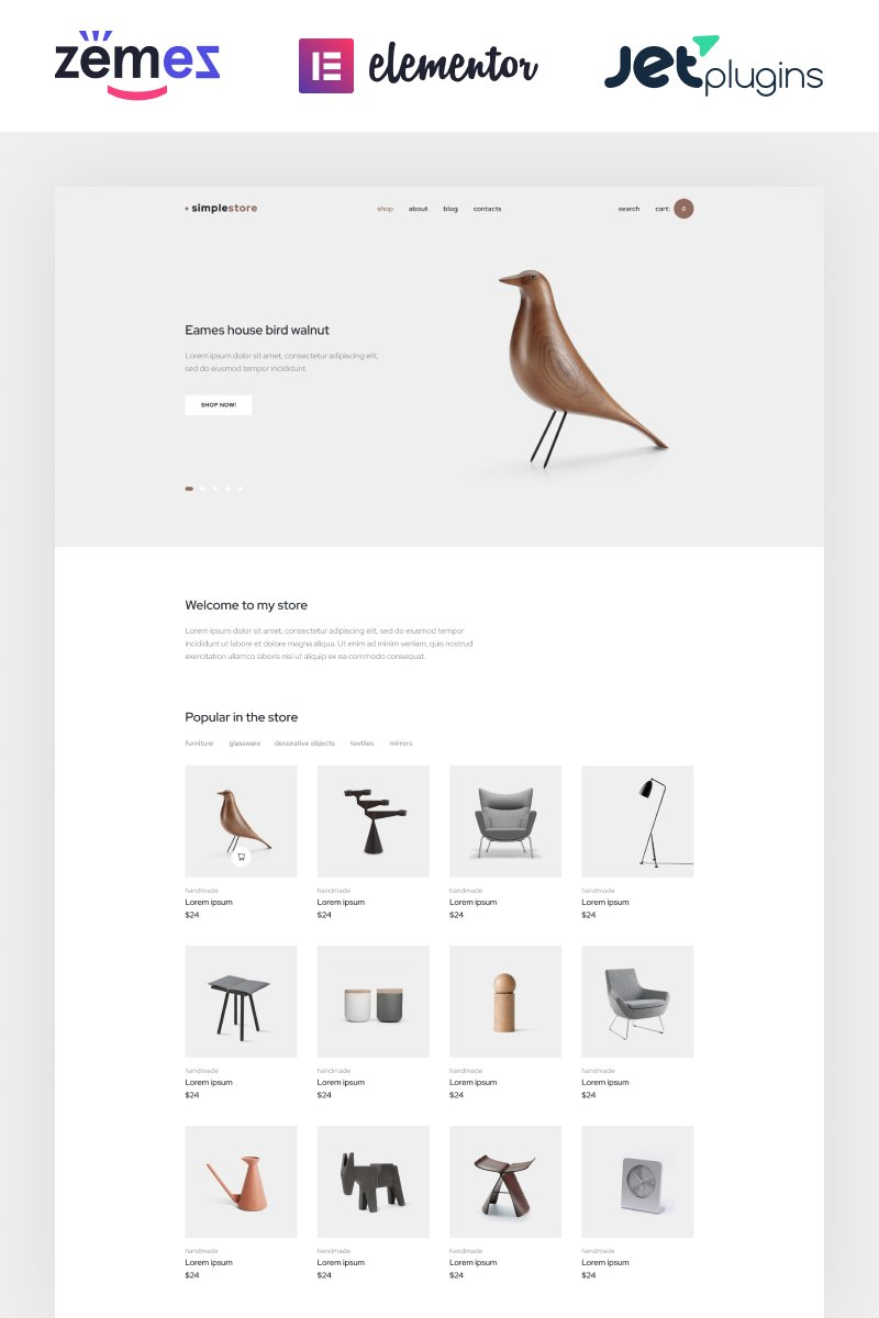 "Modello WooCommerce Responsive #86288 ""Simplestore - Home Decor Template for Online Shops"""