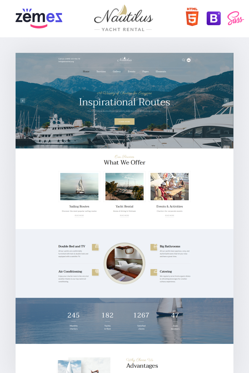 """Nautilus - Yachting Multipage HTML"" - адаптивний Шаблон сайту №86220"