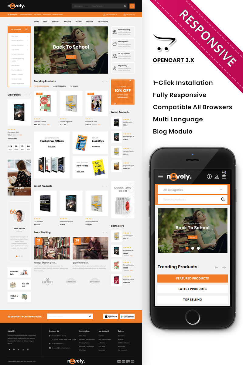 "OpenCart Vorlage namens ""Novely - The Book Store"" #86294 - Screenshot"