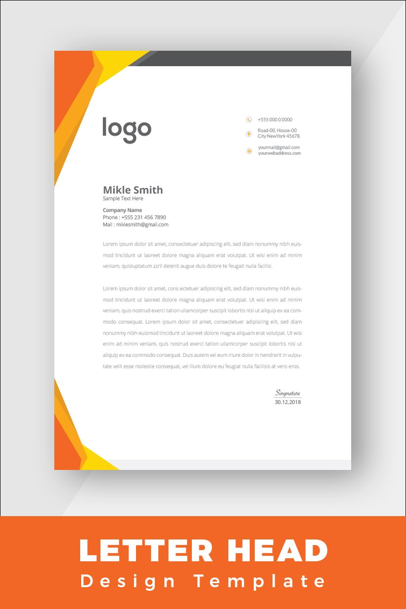 """""""Orange Colour Letterhead"""" design d'Entreprise  #86263 - screenshot"""