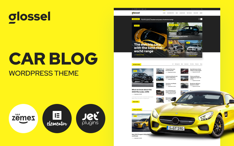 Responsivt Glossel - Car Blog Website Template based on Elementor WordPress-tema #86287