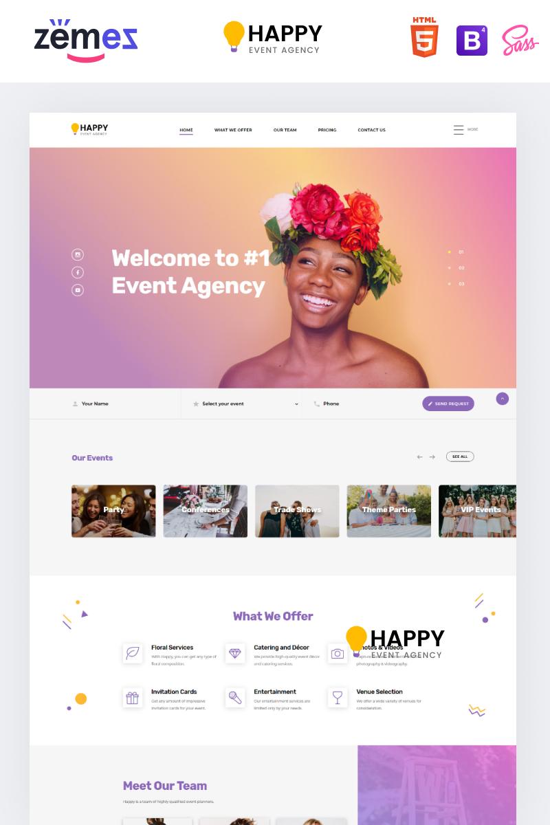 Responsywny szablon Landing Page Happy - Event Agency HTML #86221 - zrzut ekranu