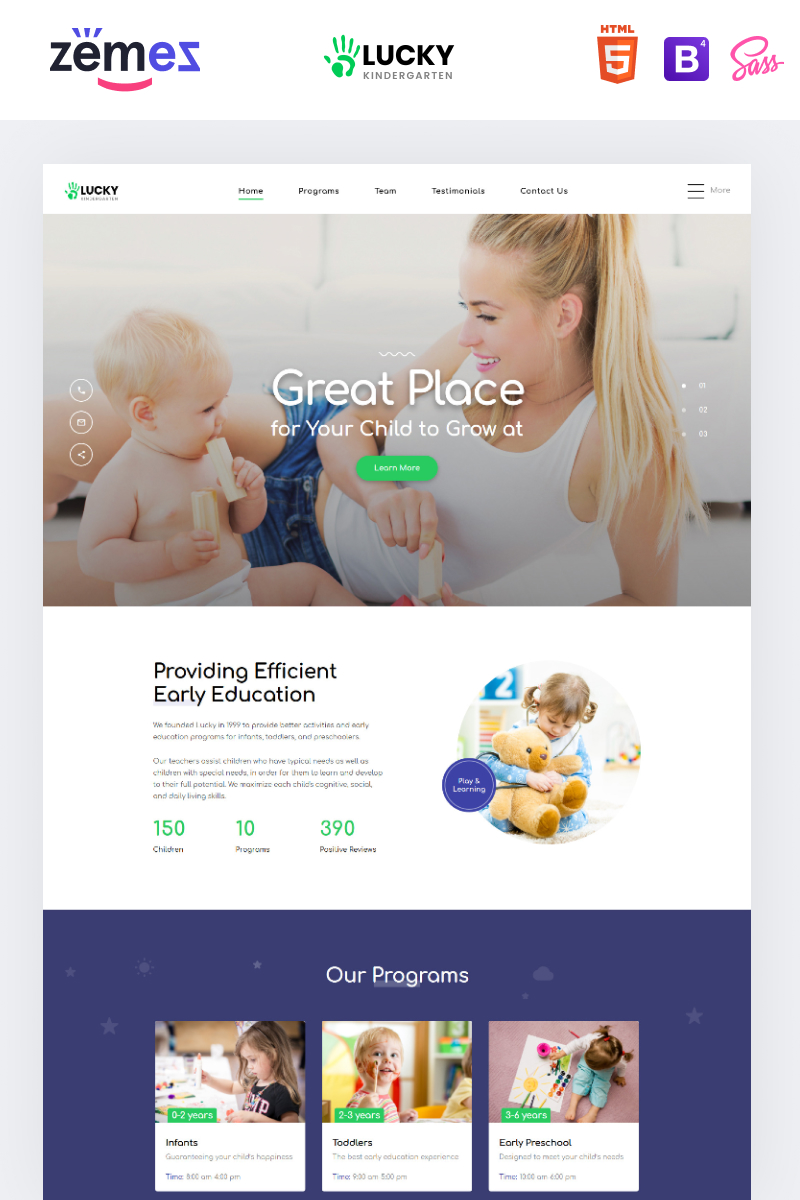 Responsywny szablon Landing Page Lucky - Kindergarten Clean HTML #86257 - zrzut ekranu