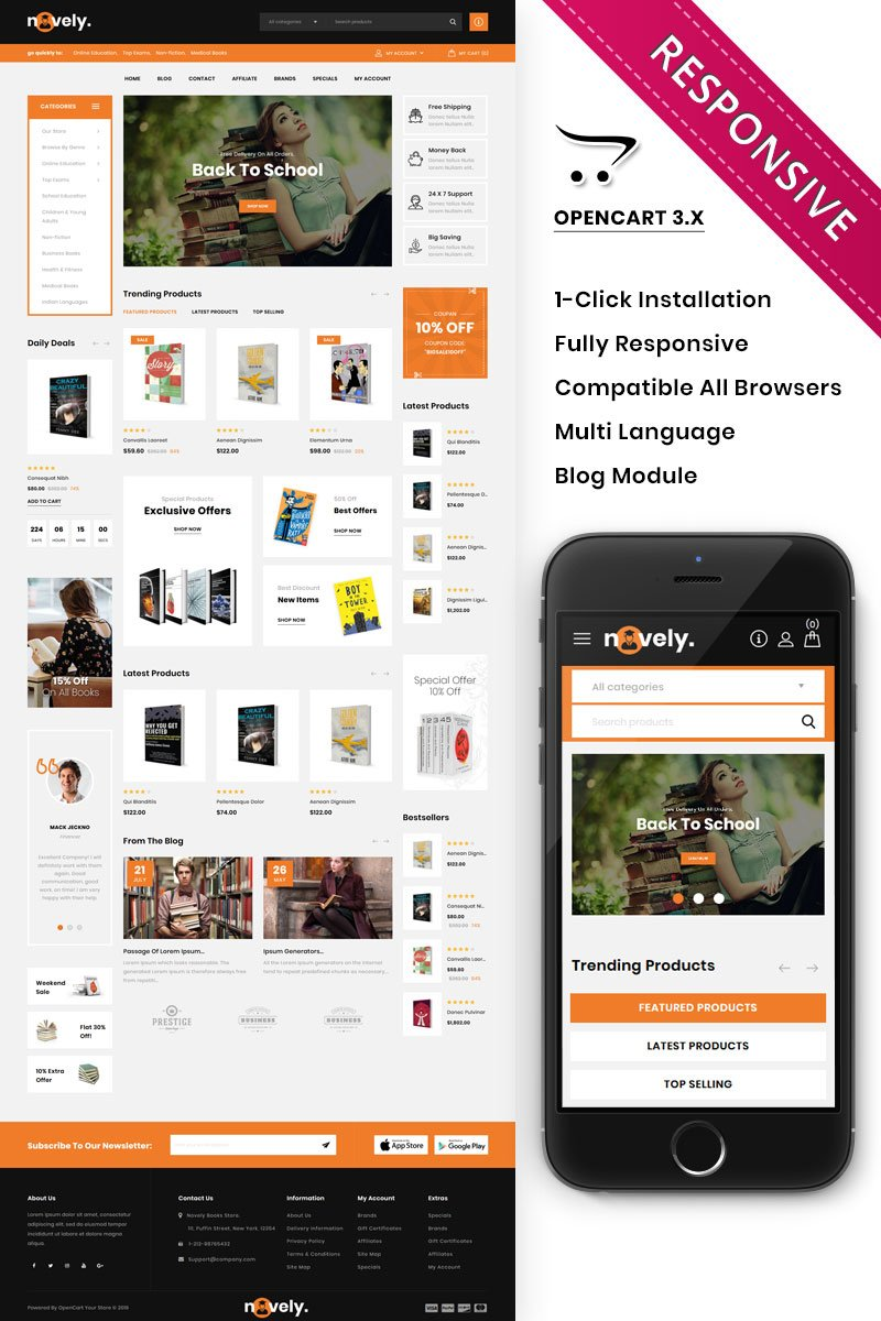 Responsywny szablon OpenCart Novely - The Book Store #86294 - zrzut ekranu