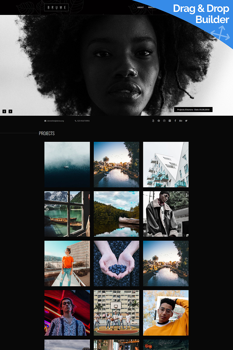 "Responzivní Moto CMS 3 šablona ""Brume - Photo Studio"" #86208 - screenshot"
