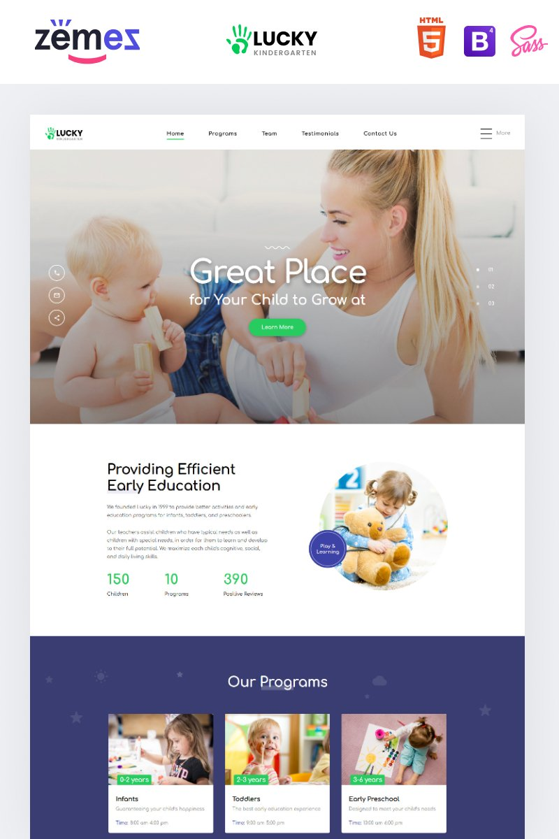 "Responzivní Šablona mikrostránek ""Lucky - Kindergarten Clean HTML"" #86257 - screenshot"