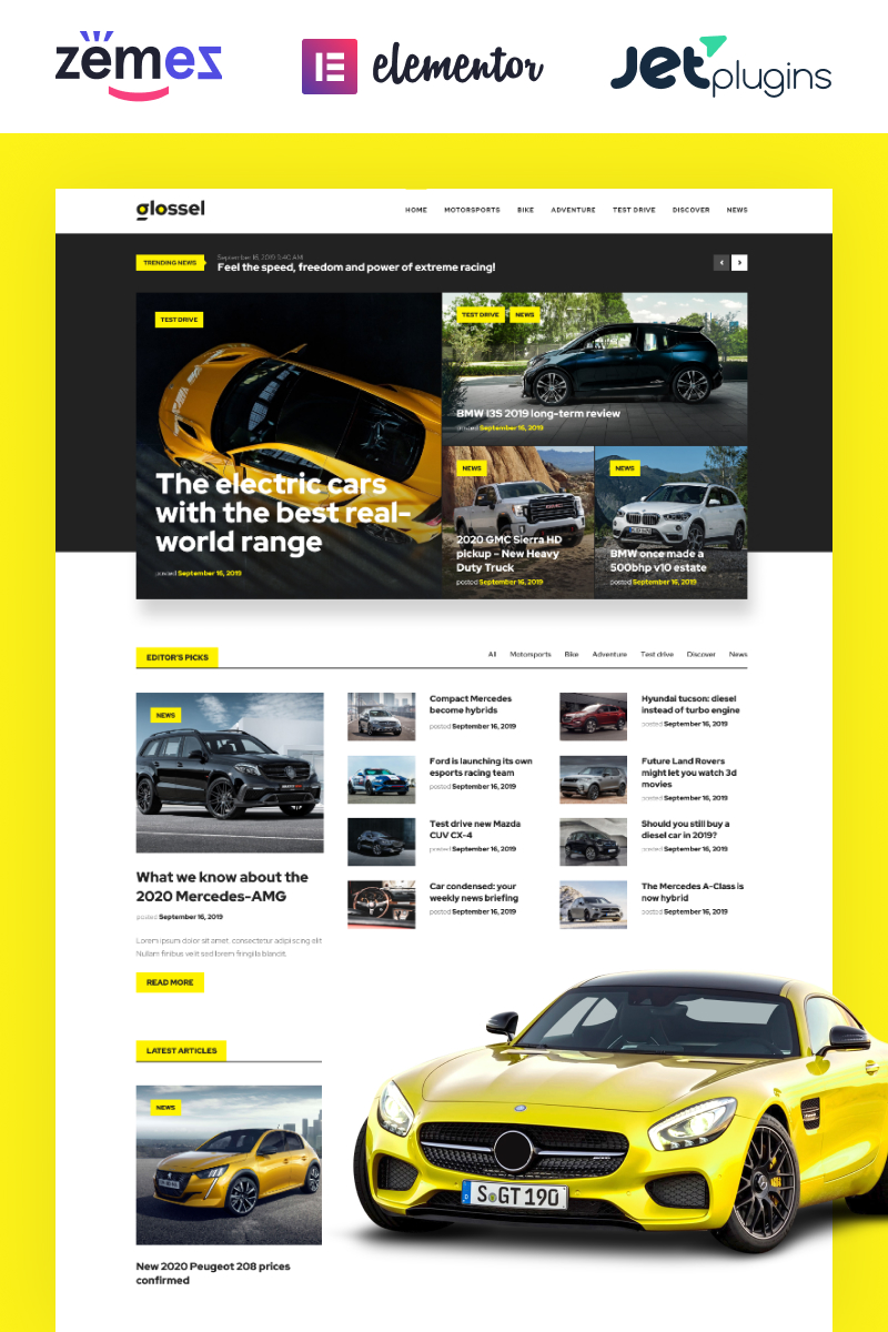 "Responzivní WordPress motiv ""Glossel - Car Blog Website Template based on Elementor"" #86287 - screenshot"