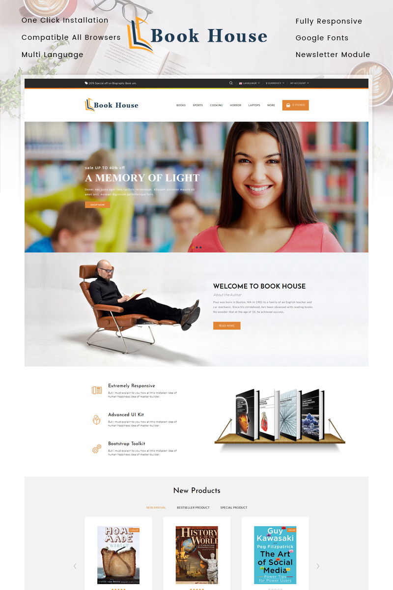 Reszponzív Book House OpenCart sablon 86222 - képernyőkép