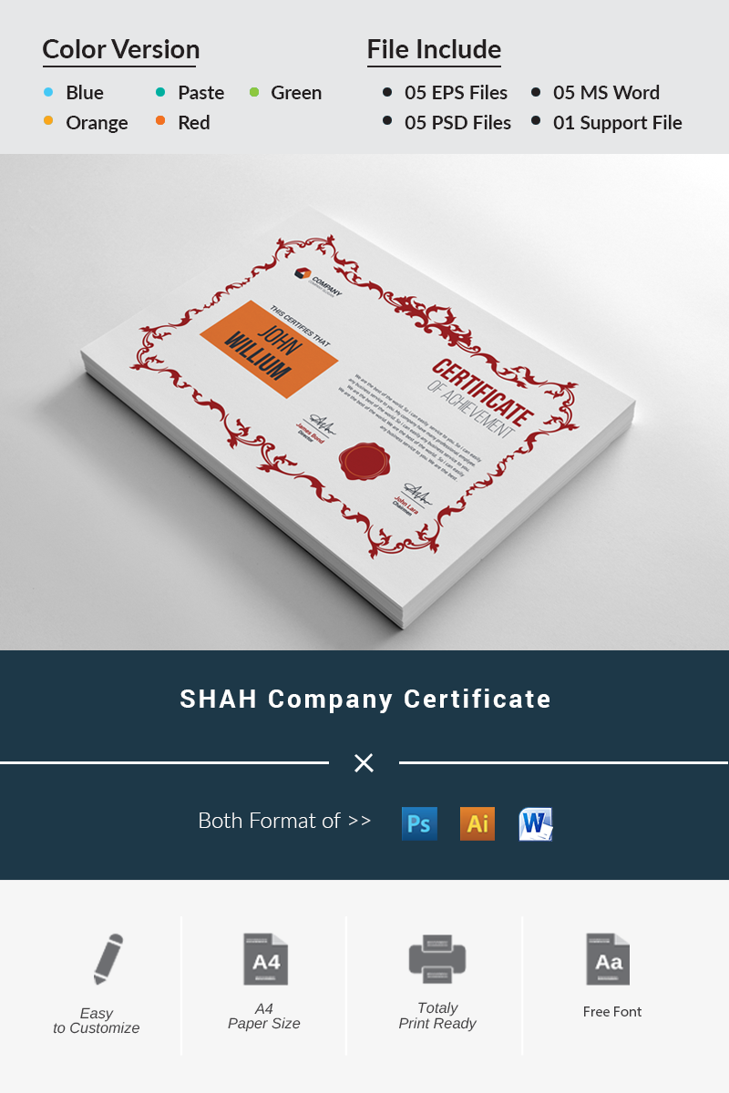 SHAH Company Certificate Template