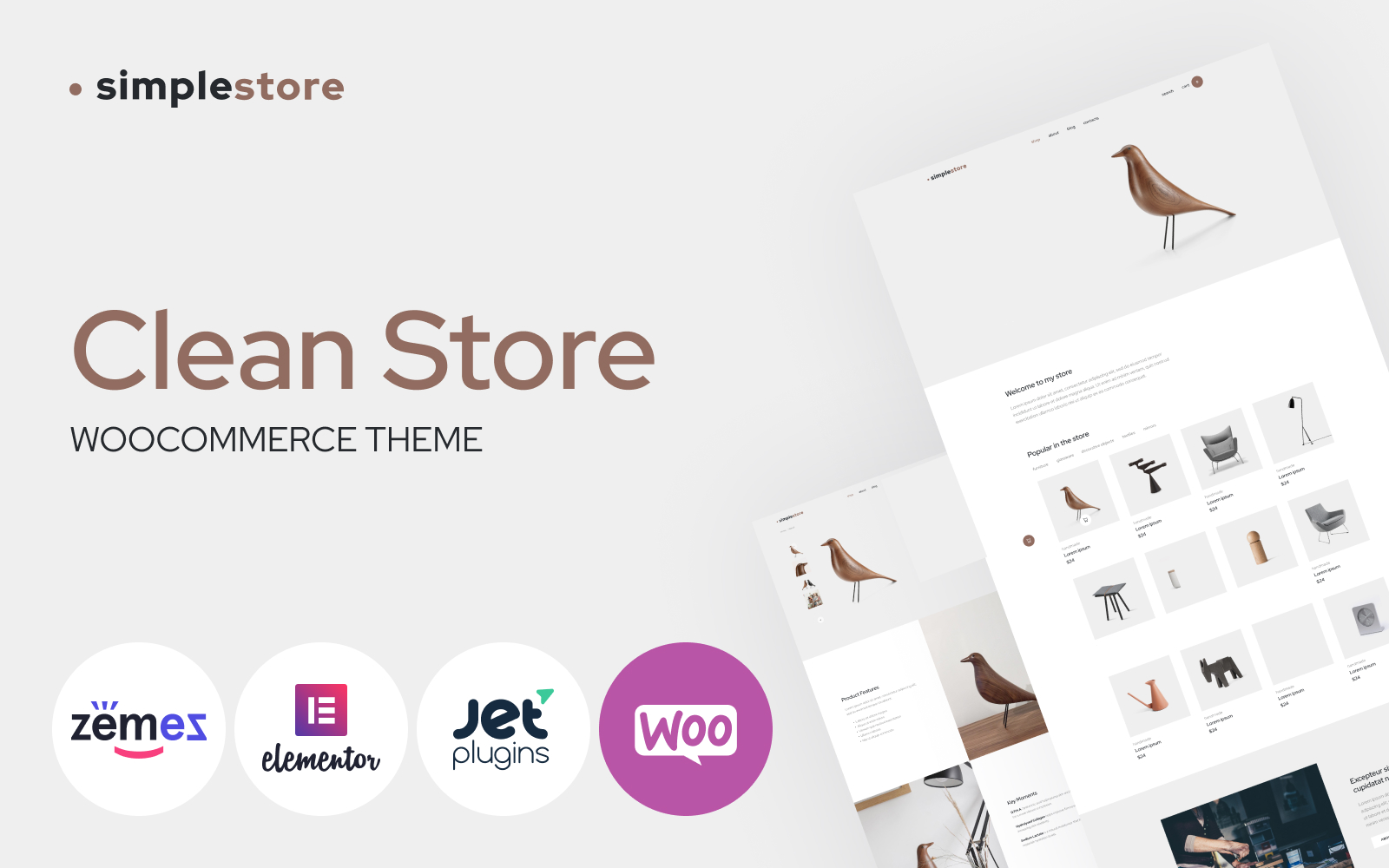 """Simplestore - Home Decor Template for Online Shops"" 响应式WooCommerce模板 #86288"