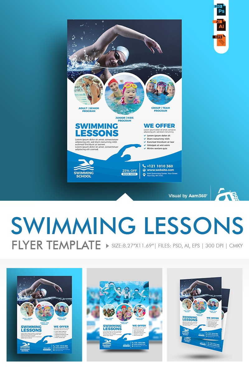 """Swimming Lessons Flyer"" design d'Entreprise  #86277 - screenshot"