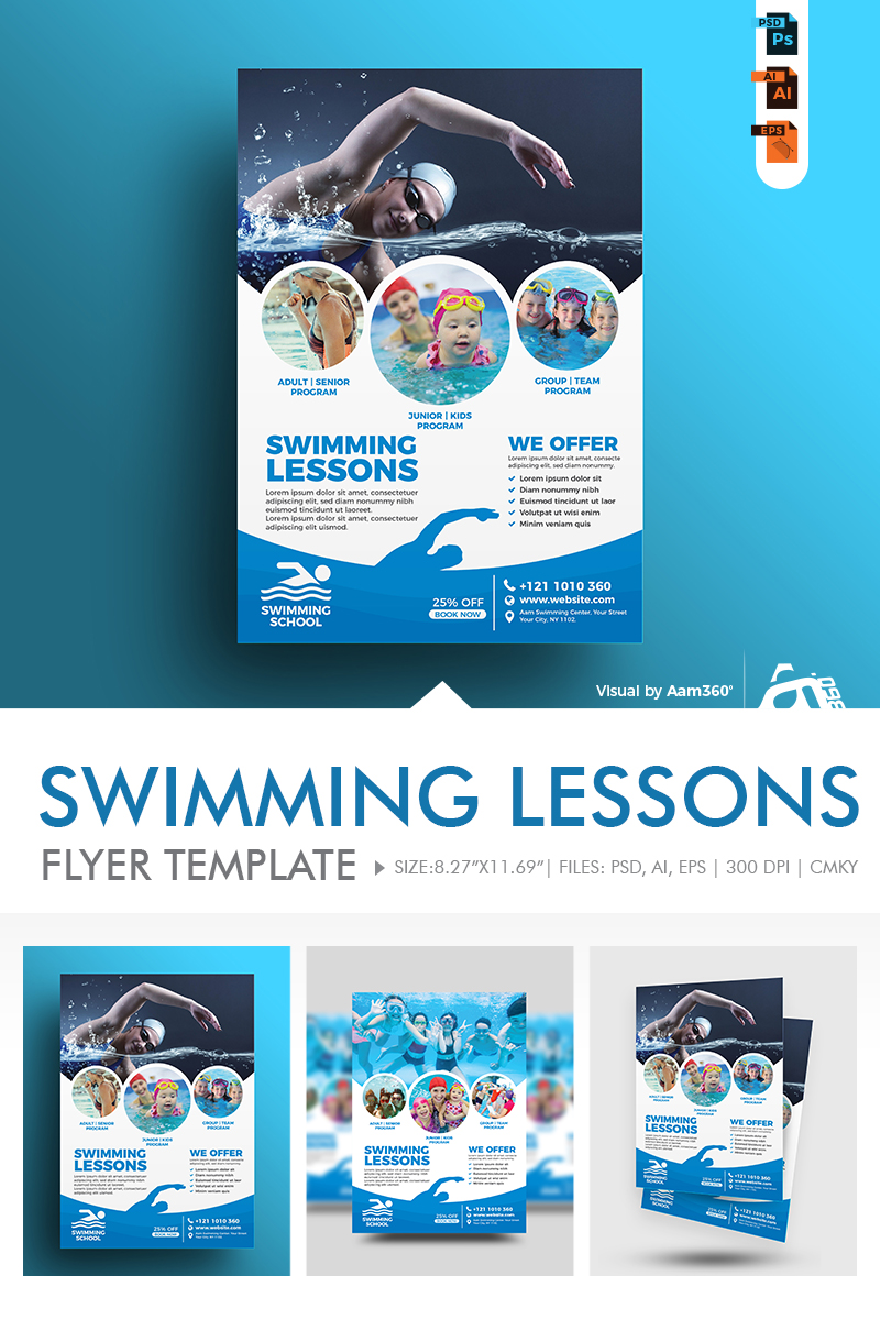 Swimming Lessons Flyer Kurumsal Kimlik #86277 - Ekran resmi