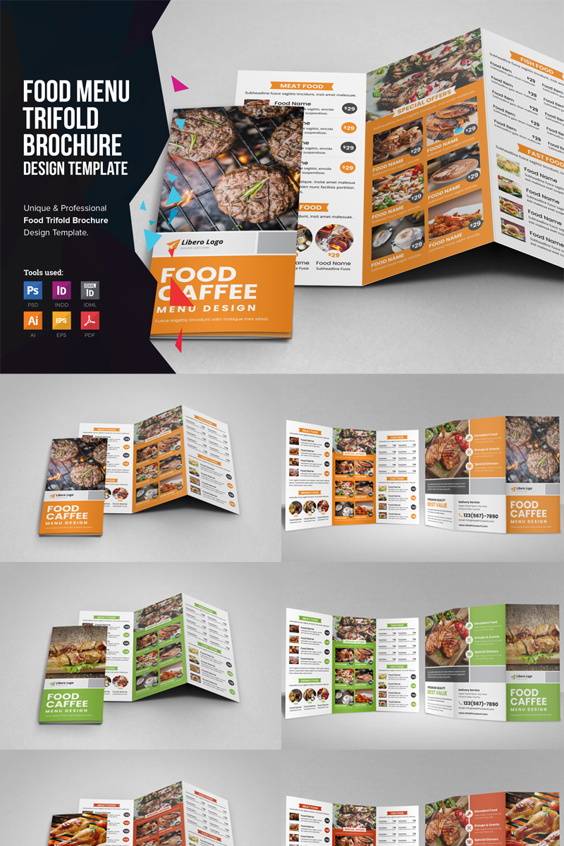 Szablon tożsamości korporacyjnej Shithy - Food Menu Trifold Brochure #86209 - zrzut ekranu