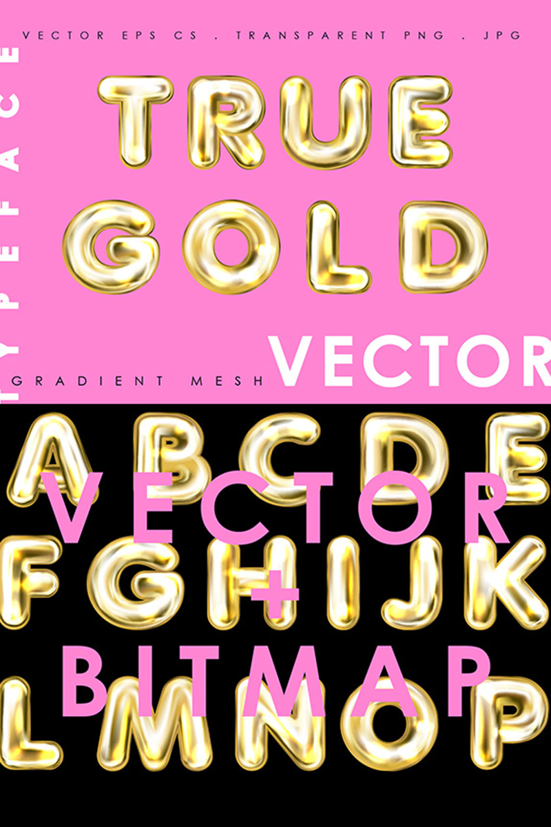 """True Gold. Alphabet & Numerals"" Lettertype №86286 - screenshot"