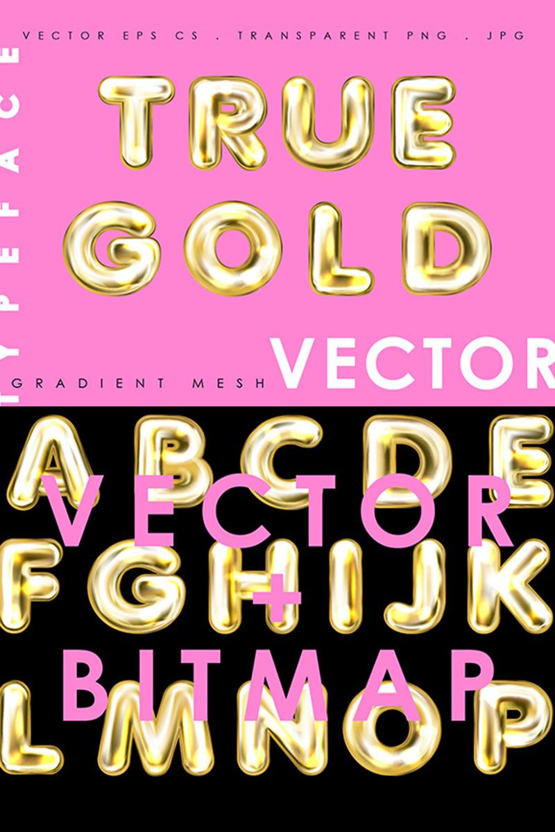 """""""True Gold. Alphabet & Numerals"""" 字体 #86286 - 截图"""