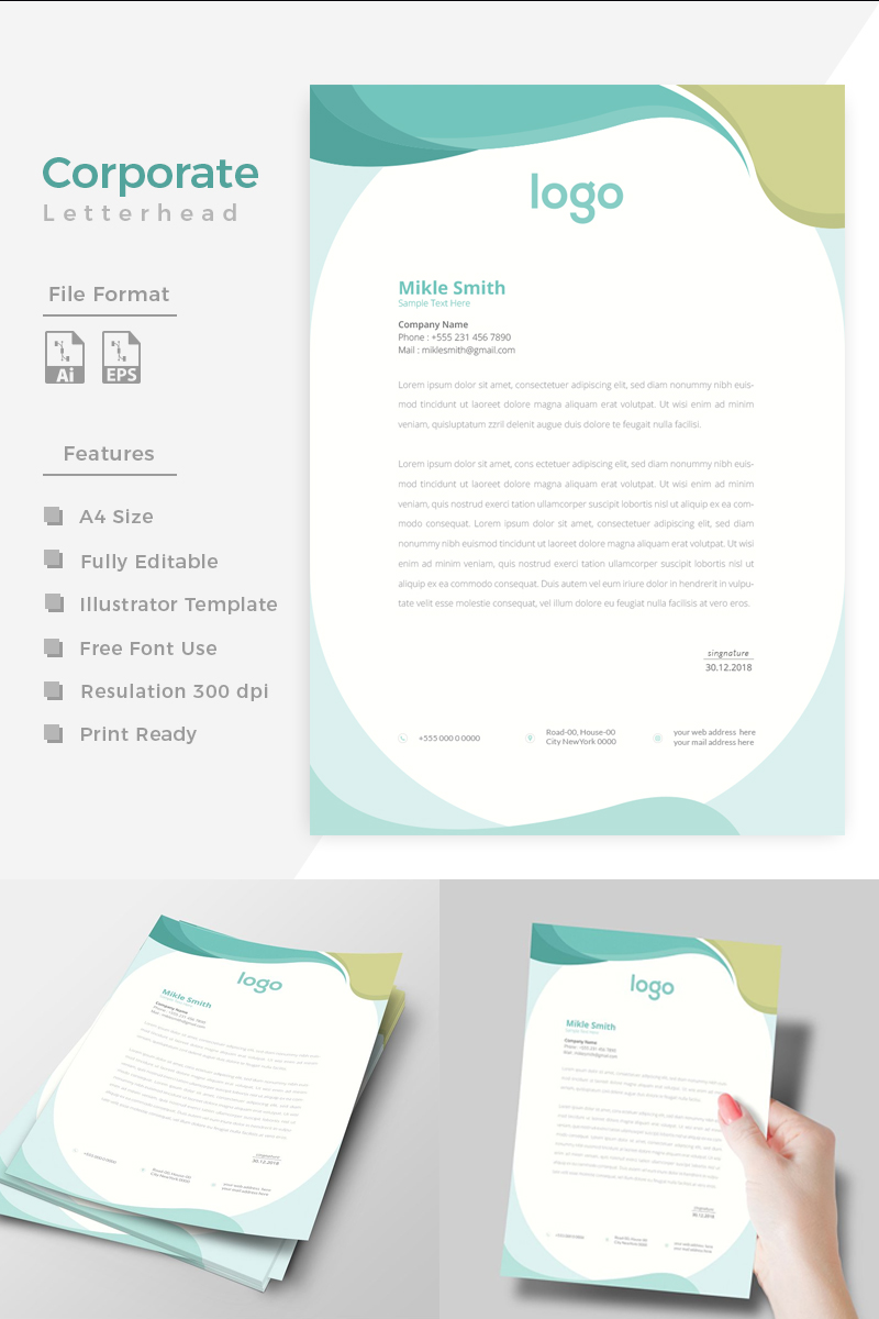 """Unique Style Corporate Letterhead"" design d'Entreprise  #86268 - screenshot"