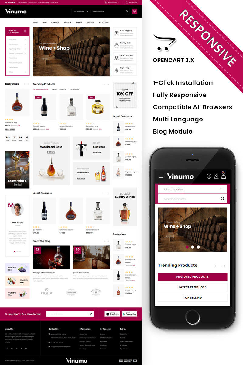"""Vinumo - The Wine Store"" 响应式OpenCart模板 #86293 - 截图"
