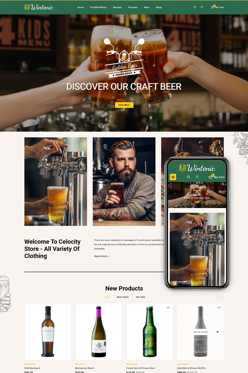 """Wintenic - Wine & Drink Shop"" thème OpenCart adaptatif #86236 - screenshot"