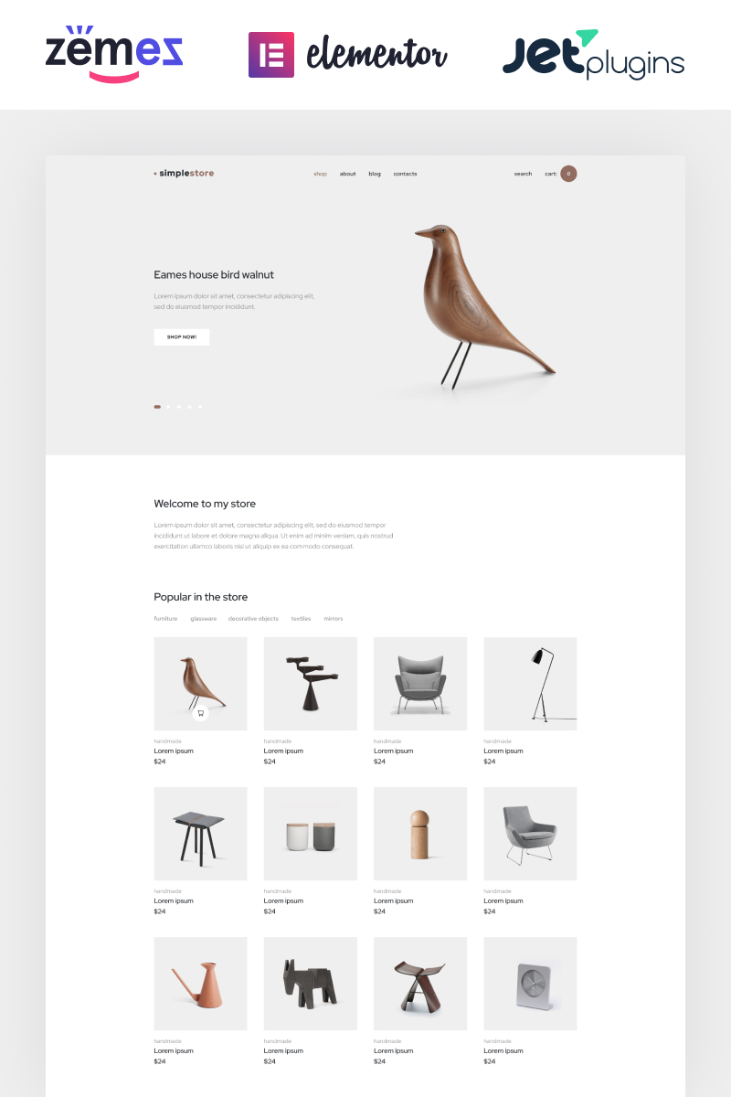 "WooCommerce Theme namens ""Simplestore - Home Decor Template for Online Shops"" #86288"