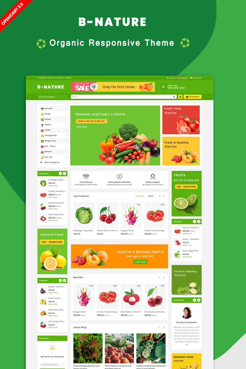 """B Nature Organic Fruit & Vegetable"" Responsive OpenCart Template №86399"