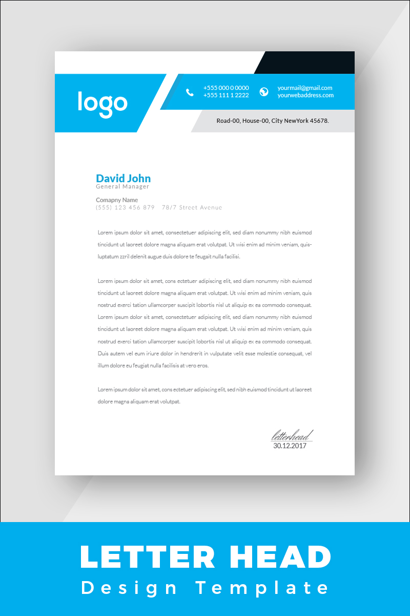 Blue and Black Letterhead Corporate Identity Template