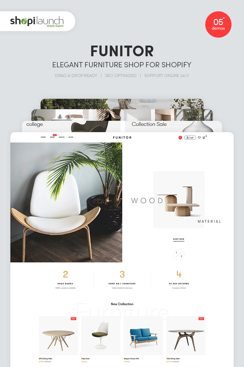 """Funitor - Elegant Furniture"" Responsive Shopify Thema №86312 - screenshot"