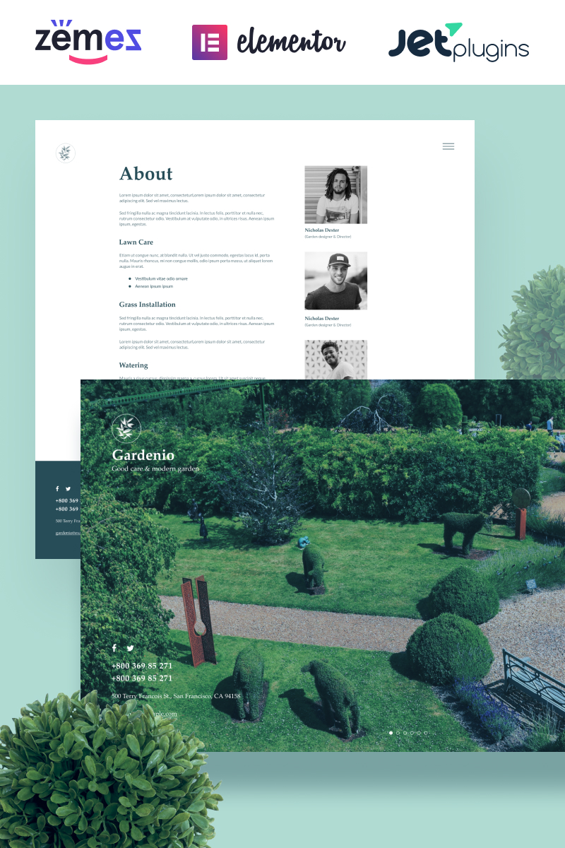 Gardenio - Simple and Effective Garden Landscaping Template for Tema WordPress №86363