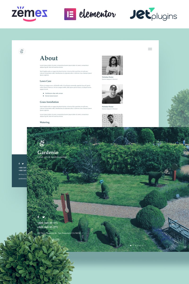 """""""Gardenio - Simple and Effective Garden Landscaping Template for"""" 响应式WordPress模板 #86363"""